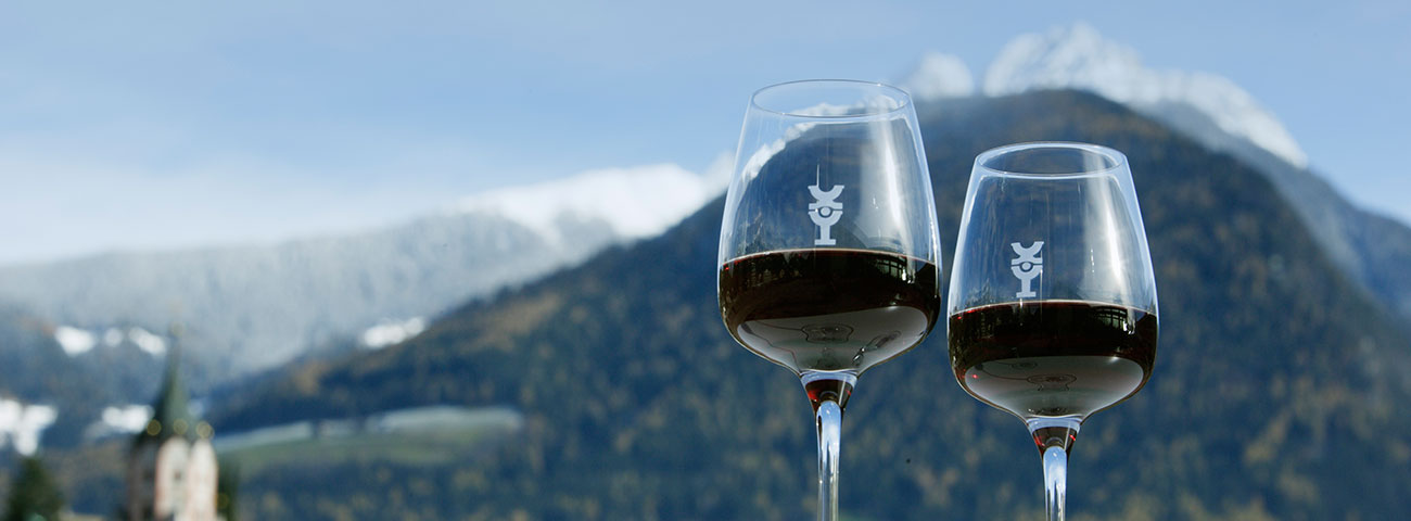 Two glasses with red wine and, in the background, Merano and surroundings