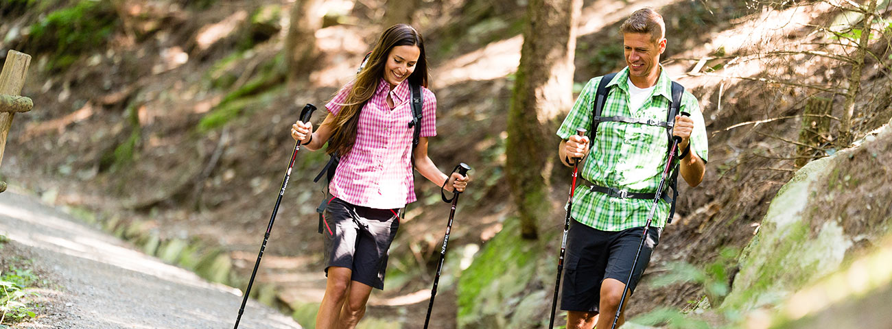 A couple makes Nordic walking on an alpine road