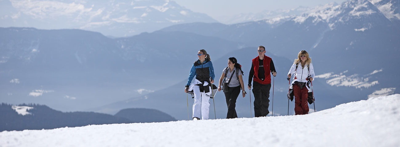 A group of people walking on the snow on a sunny day